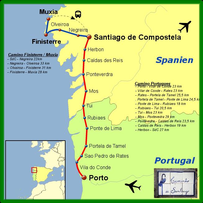 Camino Portugues Karte.2012 Caminho Português Fátima Porto Bis Santiago De Compostela